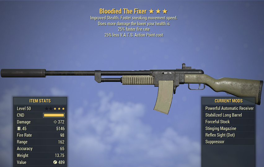 Bloodied The Fixer 25% faster fire rate 25% less V.A.T.S. Action Point cost