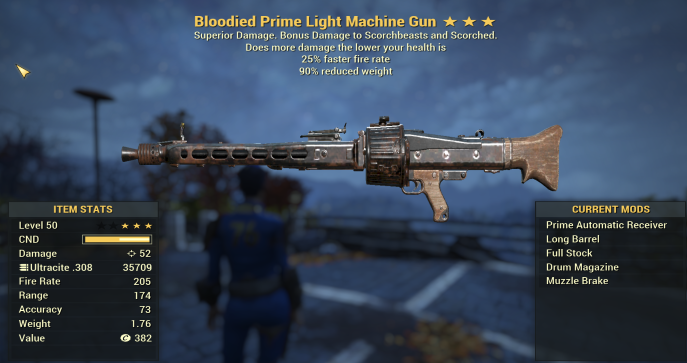 Bloodied Light Machine Gun 25% Faster Fire Rate | 90% Reduced Weight