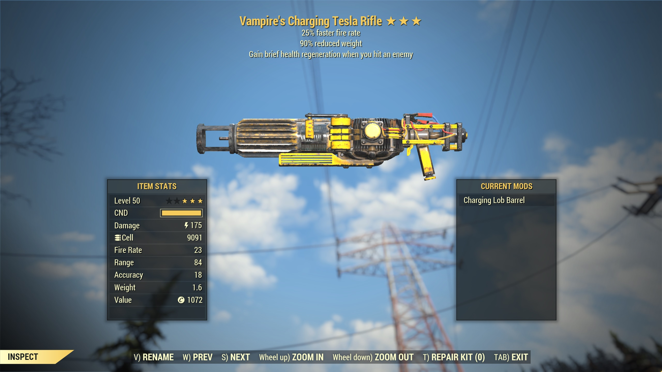 ★★★ Vampires Tesla Rifle[25% Faster Fire Rate][90% Reduced Weight]   LOBBER BARREL   FAST DELIVERY  