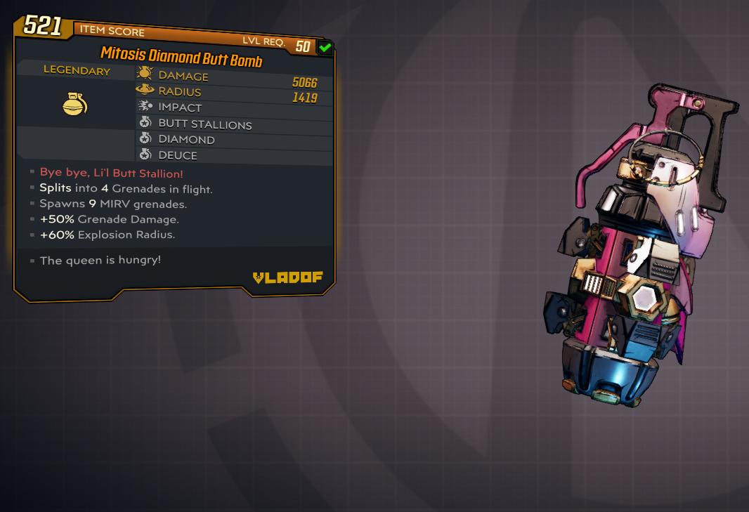 [PC] Diamond Butt Bomb (DLC Grenade) / 5k DMG / 1400 Radius / Throw unicorns !!! 36 unicorns