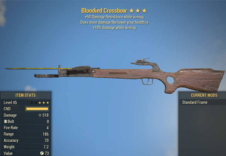 Bloodied Crossbow +10% Damage while aiming +50 Damage Resistance while aiming