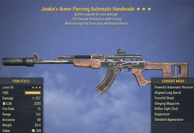 Junkie's Explosive Handmade +50 Damage Resistance while aiming