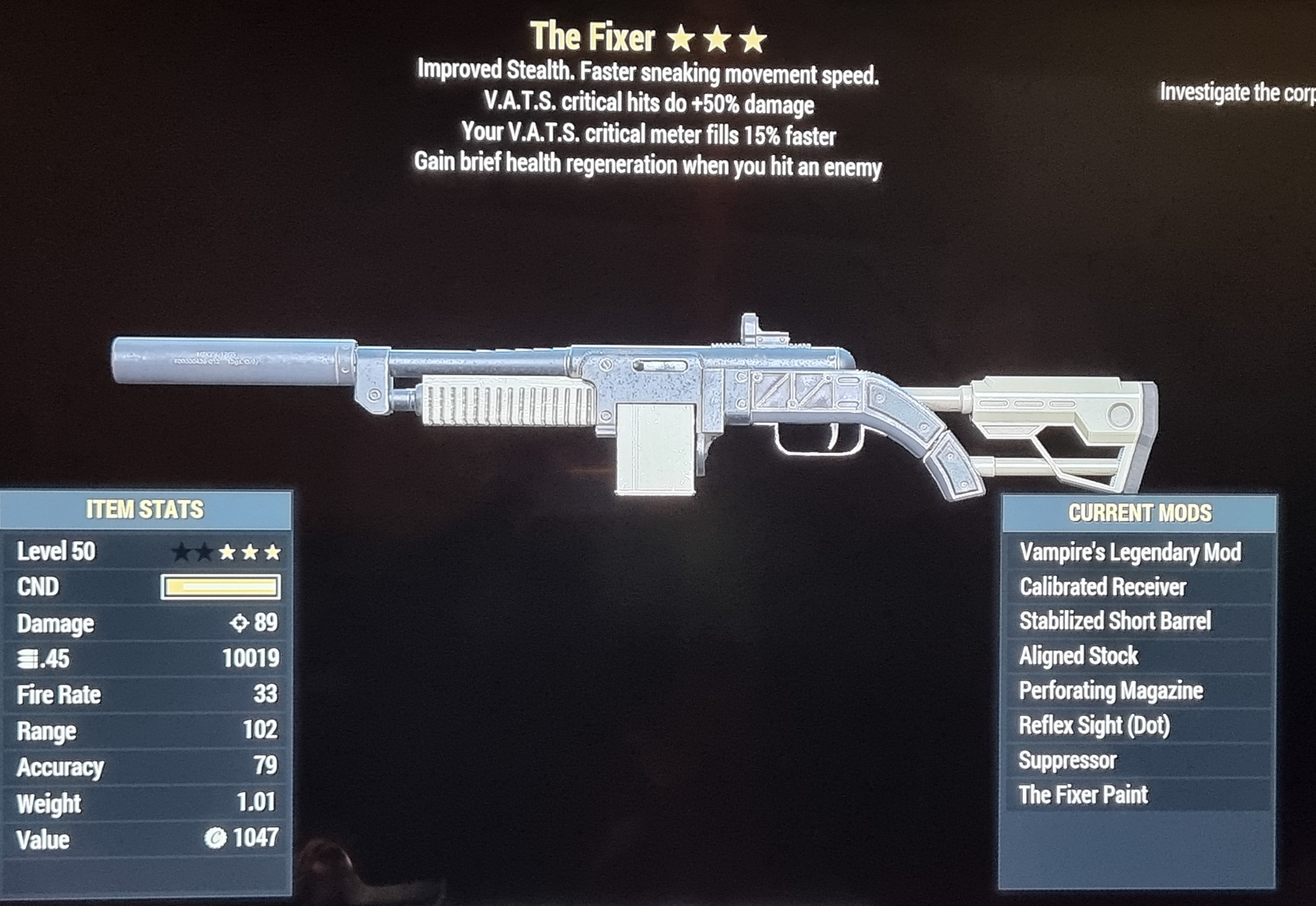 Vampires fixer crit hits do +50% more damage. Crit meter fills faster FALLOUT 76 PS4