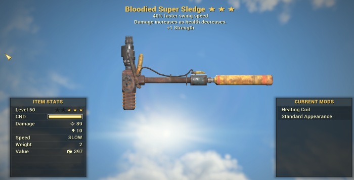 Bloodied  40% faster swing speed Super Sledge + 1 Strength