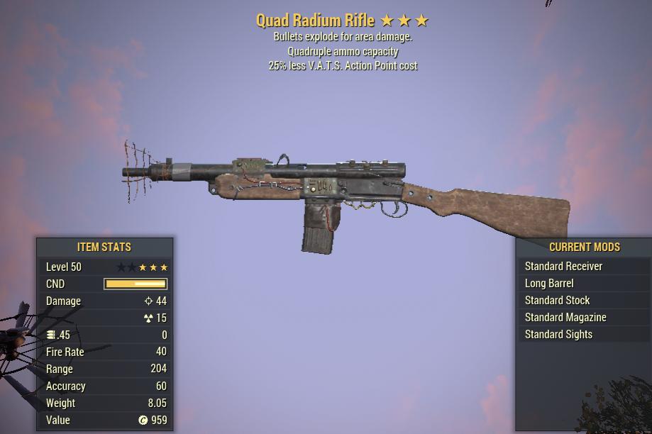 Quad Explosive Radium Rifle 25% Less VATS