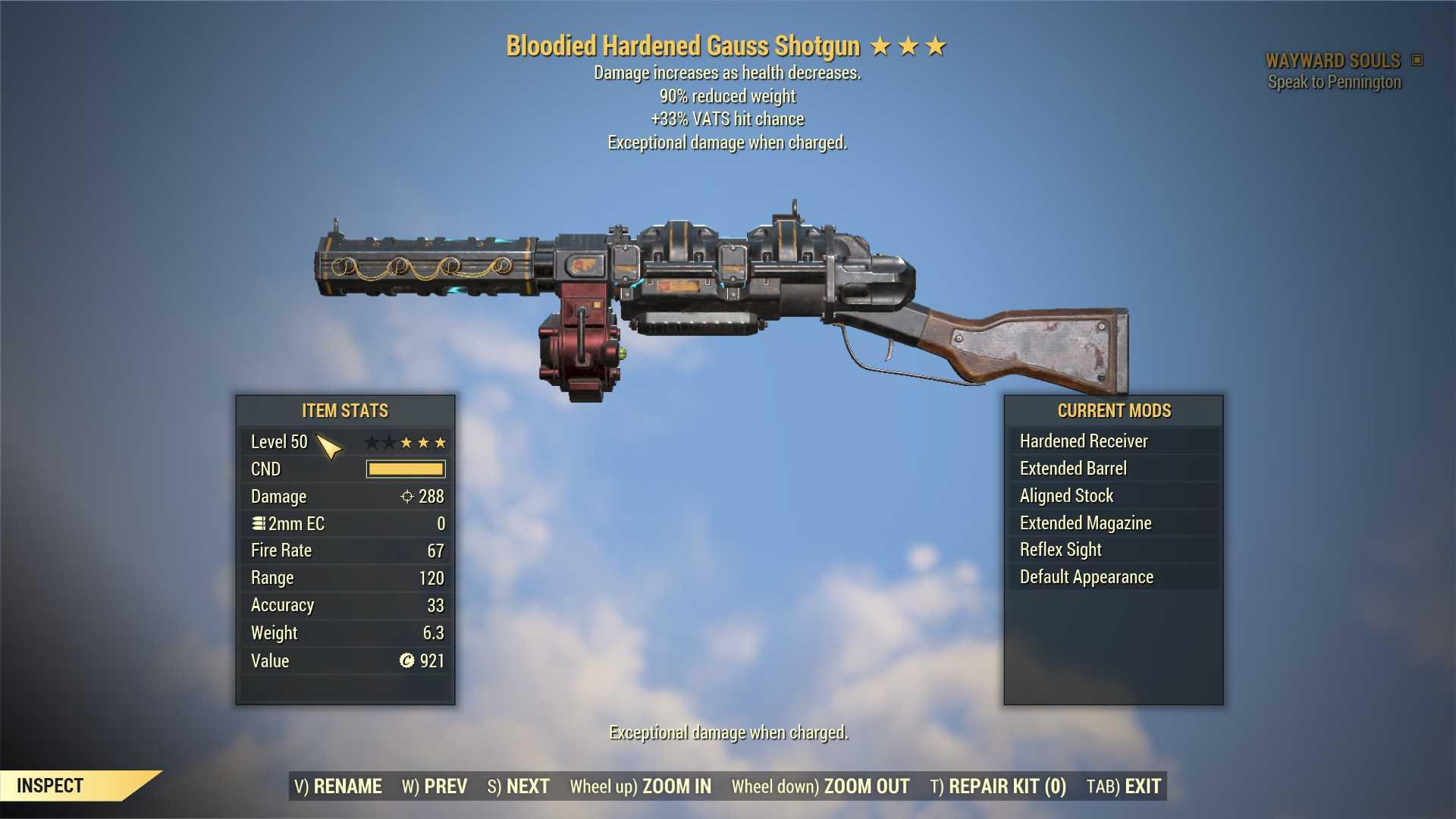 Bloodied Gauss Shotgun (+33% VATS hit chance, 90% reduced weight) FULL MODDED [Wastelanders]