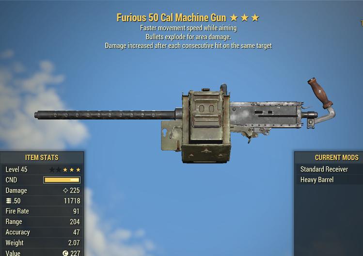 Furious Explosive 50 Cal Machine Gun faster movement speed while aiming