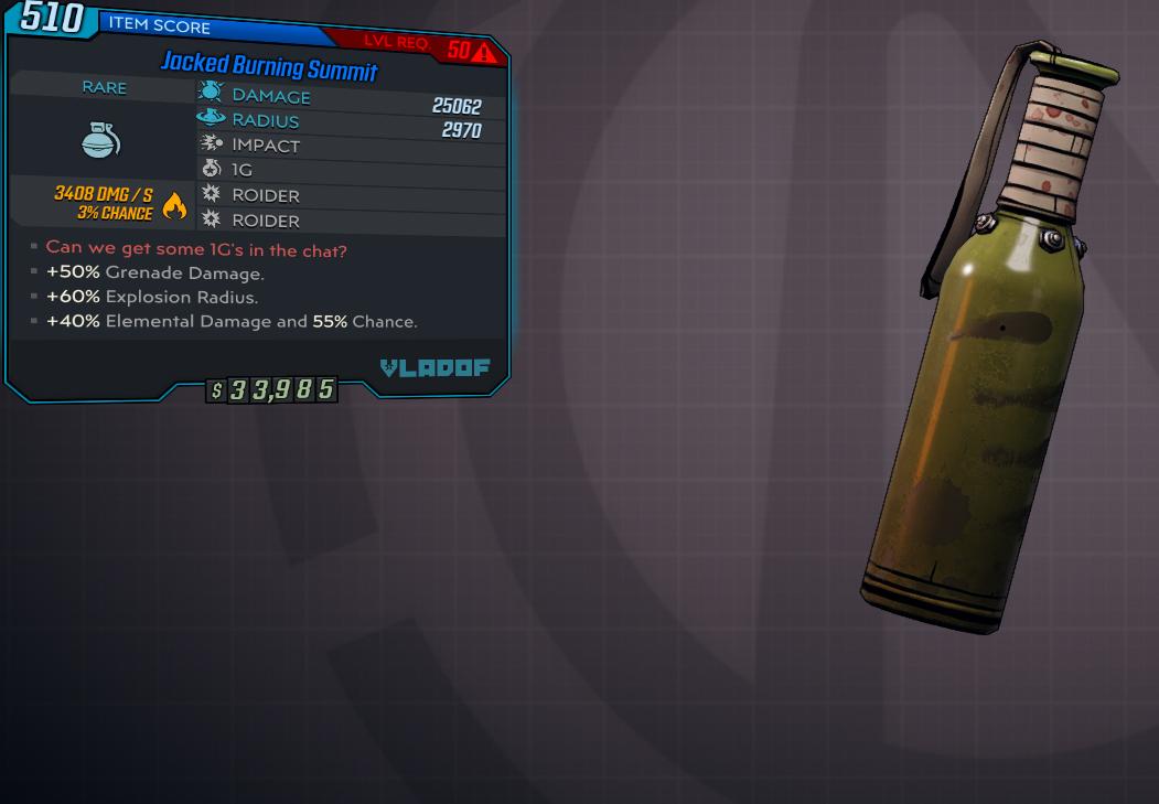 [PC] Summit1G (Streamer's Grenade) / 25k DMG / 2.9k Radius / Damage himself !!!