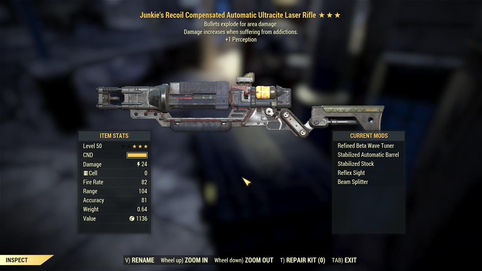 Junkie's Explosive Ultracite Laser Rifle +1 Perception [LEGACY]