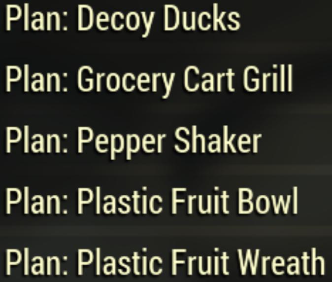 Plan: Decoy Ducks / Grocery Cart Grill / Pepper Shaker / Plastic Fruit Bowl / Plastic Fruit Wreath