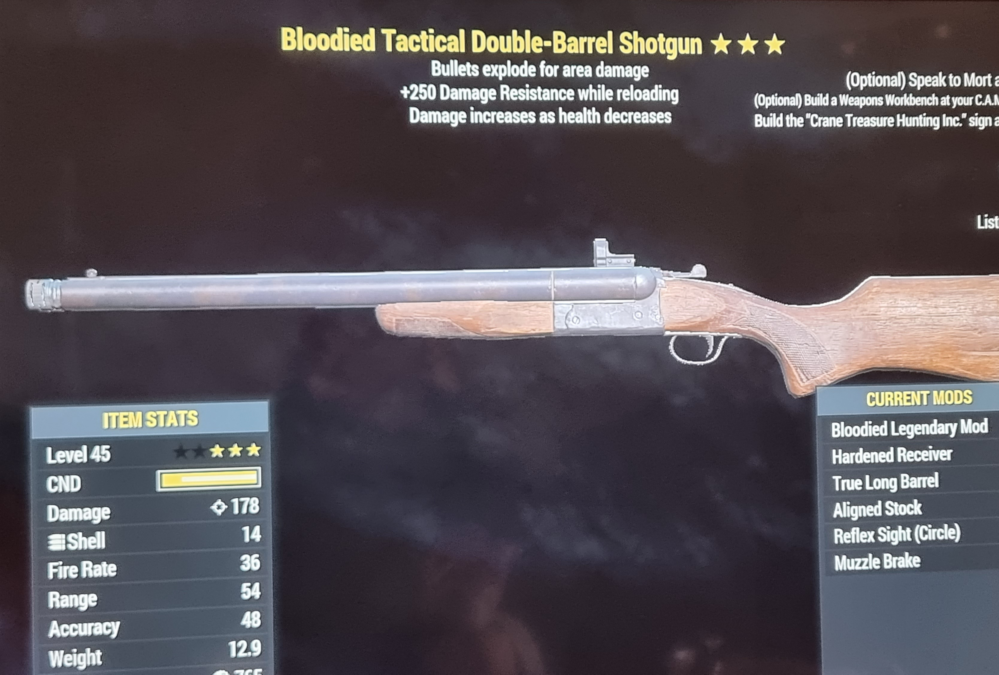 Bloodied explosive double barrel shotgun +250 damage resist while reloading FALLOUT 76 PS4