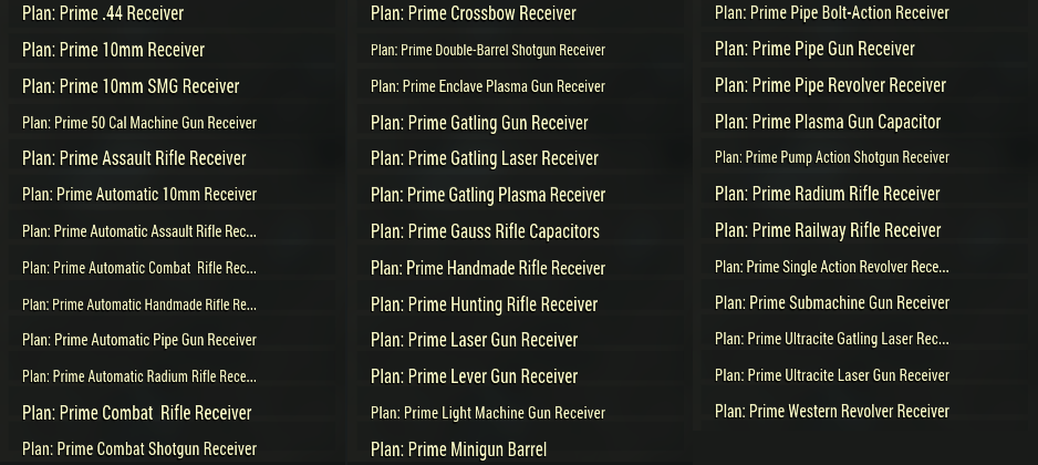 [PC] Prime Receivers Plans Pack | Ultracite Ammo | 38 plans (list of plans in the pictures) - Fast