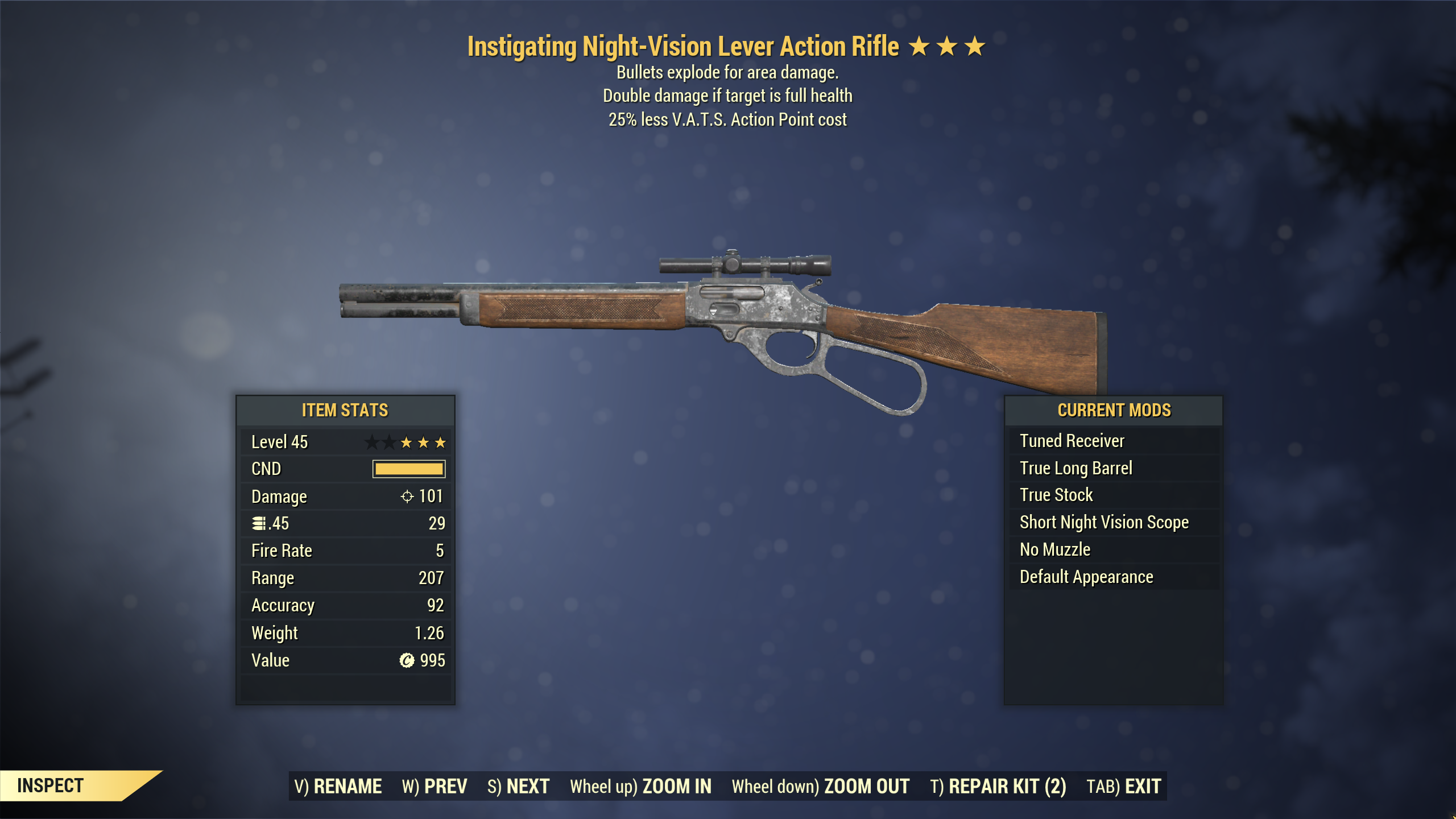 ★★★ Instigating Explosive Lever Action Rifle[25% Less VATS]   FAST DELIVERY  