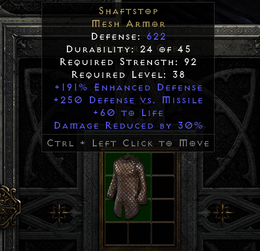 Shaftstop - Ideal Merc Armor -30% to all damage recieved - Instant delivery.