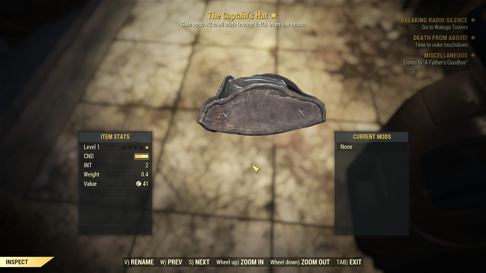 The Captain's Hat [Gain up to +3 to all stats when low health] [Rare Legendary Outfit]