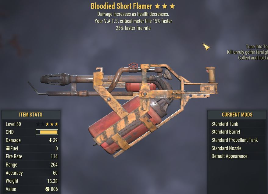 [PC] Bloodied Flamer [25%FFR | 15% Faster Vats Crit]