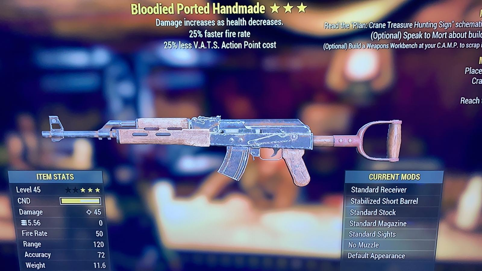 [PS4] Bloodied 25% Fire Rate Handmade 25% Less VATS | FAST DELIVERY |