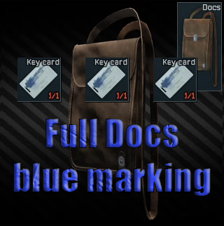 Documents case Full Key card with a blue marking