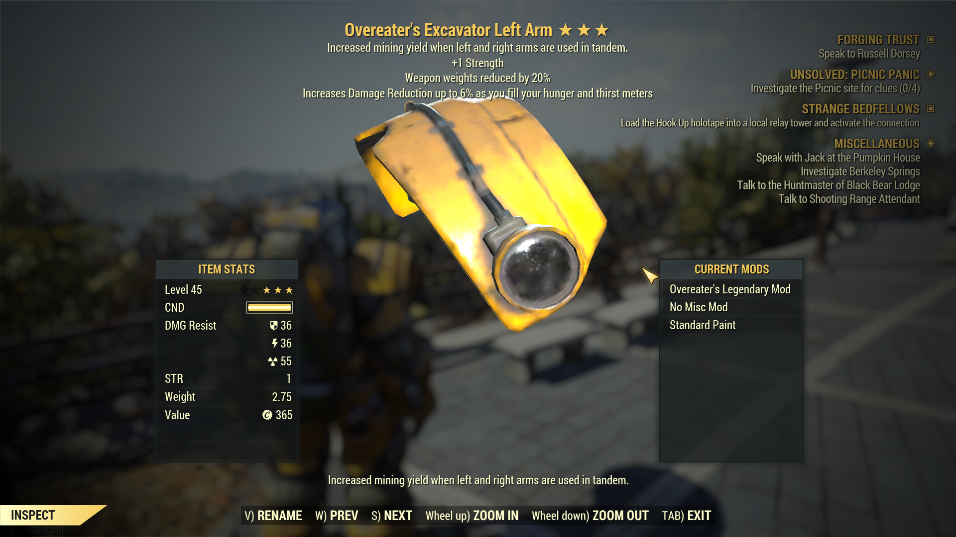 [PC] Excavator Overeater's Weapon Weight Reduction Legendary Power Armor Full set
