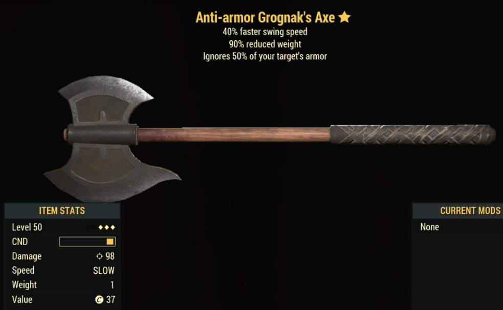 Anti-armor Grognak's Axe- Level 50