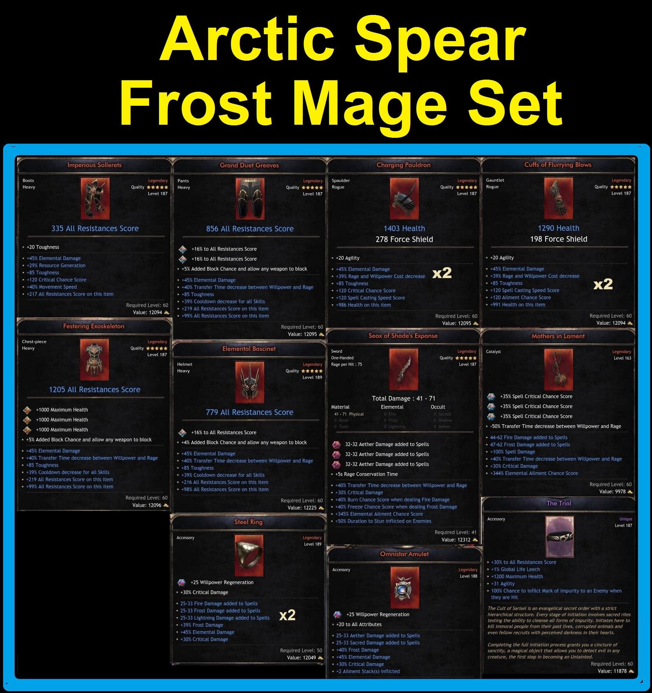 Arctic Spear Frost Mage Set | Max Rolls +45% Elemental Damage | 14 Items | 30% Trial Belt + Gold
