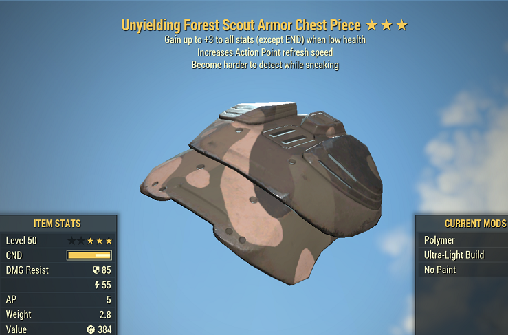 ⭐⭐⭐Unyielding Sneak Forest Scout Armor FULL SET 5/5 AP REFRESH (+15 stats S.P.E.C.I.A.L.)