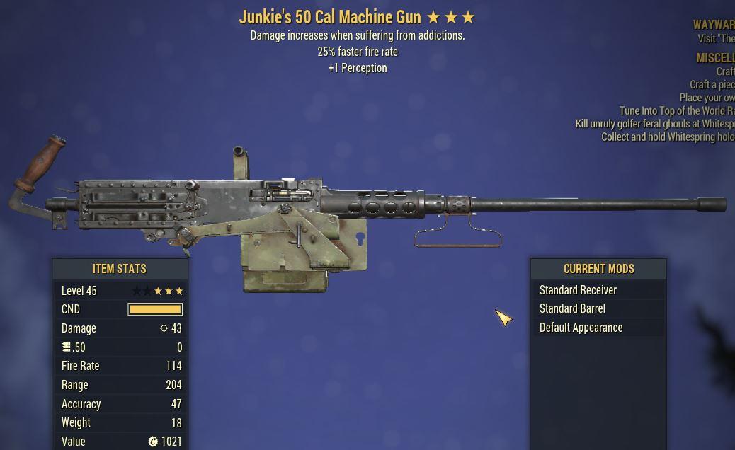 [PC] Junkie's 50 Cal MG [25 FFR | +1 PER]