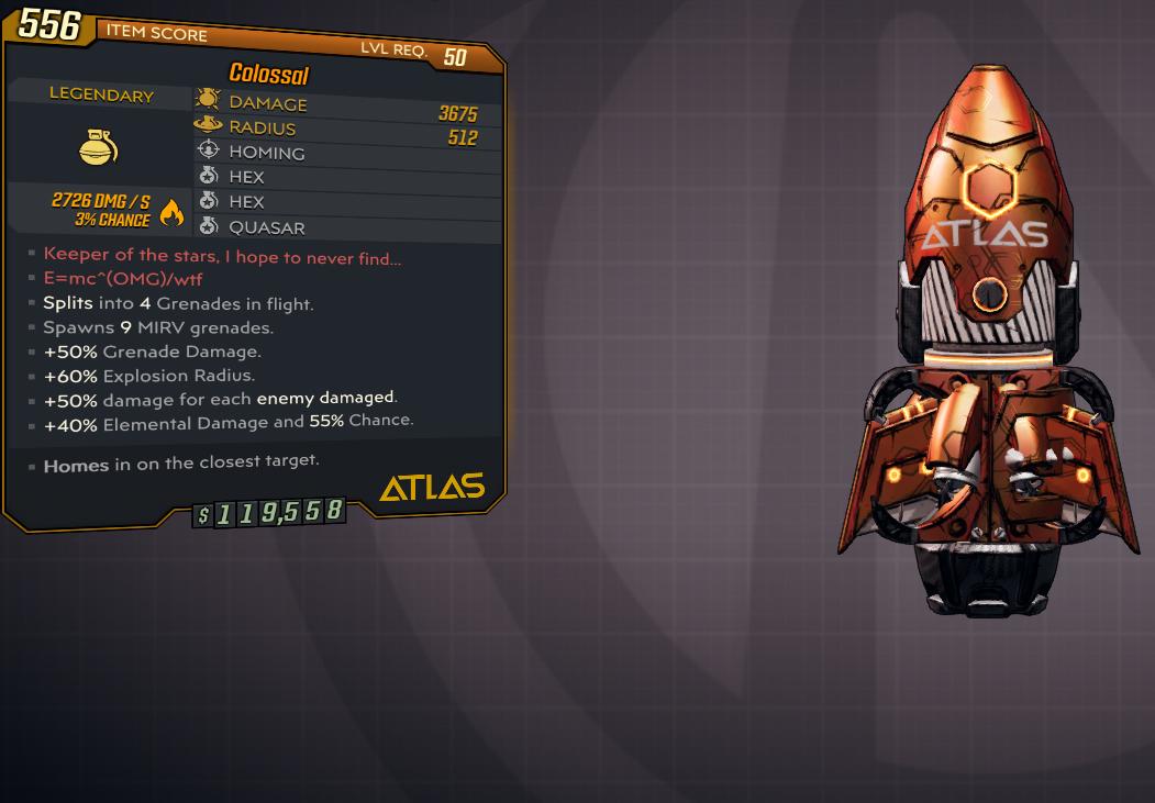 [PC] Colossal PACK: Fire, Cryo, Shock, Corr, Rad (5xGrenades) / 3675 DMG, 512 RAD / 4xSPLIT, 9xMIRV