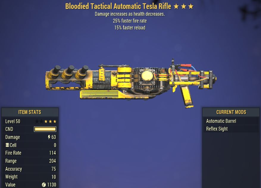 [PC] Bloodied Tesla Rifle [25FRR | 15FR]