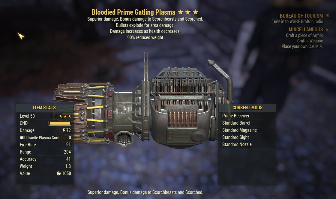 Bloodied Prime Gatling Plasma (BE90  Bloodied Explosion And Weapon weights reduced by 20%)