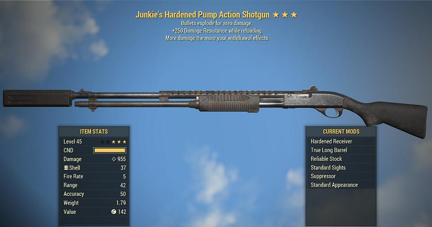 Junkie's Explosive Hardened Pump Action Shotgun +250 Damage Resistance while reloading