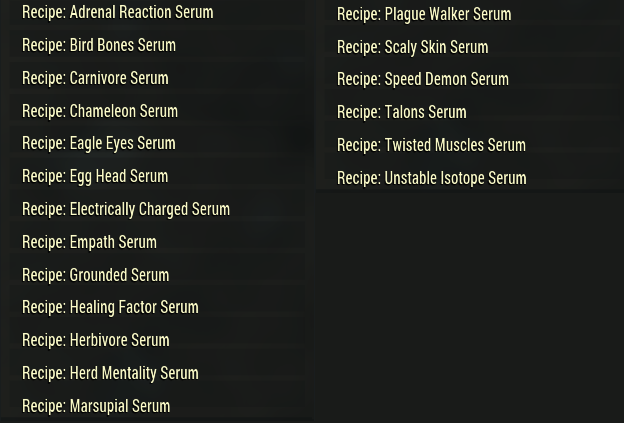 [PC] Mutation Serum Recipes Pack   19 recipes (list of recipes in the pictures) - Fast Delivery