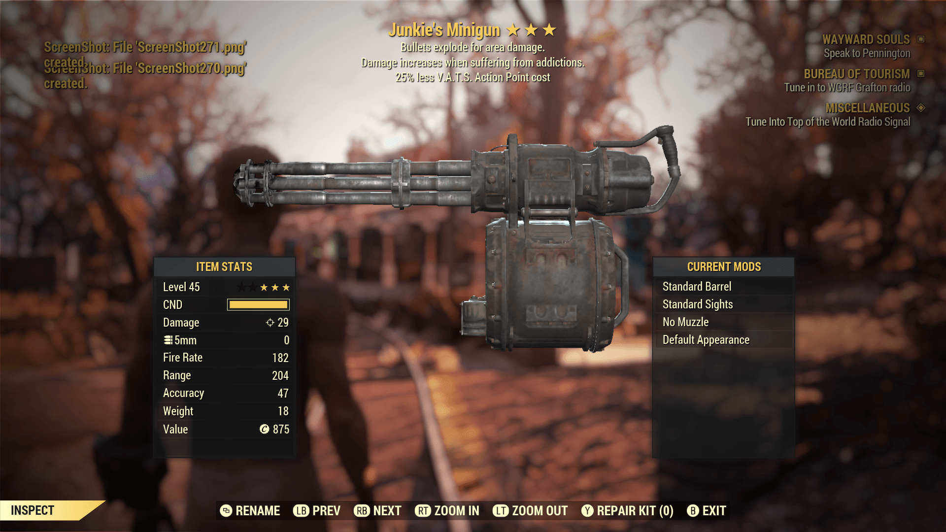 Junkie's Minigun[25% less V.A.T.S.Action Point cost]