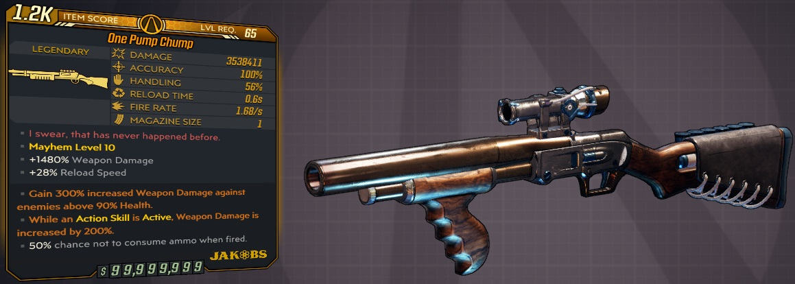 ★★★[PC/XB1/PS4] M10/L65 - ONE PUMP CHUMP 3.538.000 DMG - 0.6s RELOAD - ANOINTED X2★★★