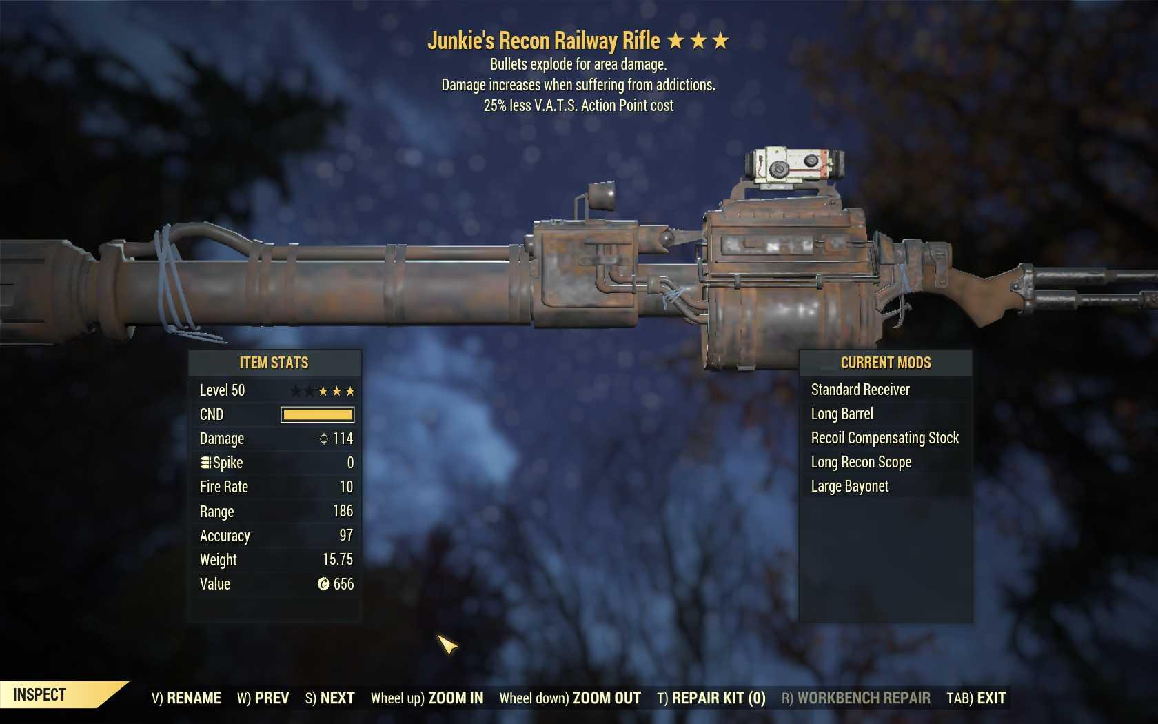 Junkie's Explosive Railway (25% less VATS AP cost)