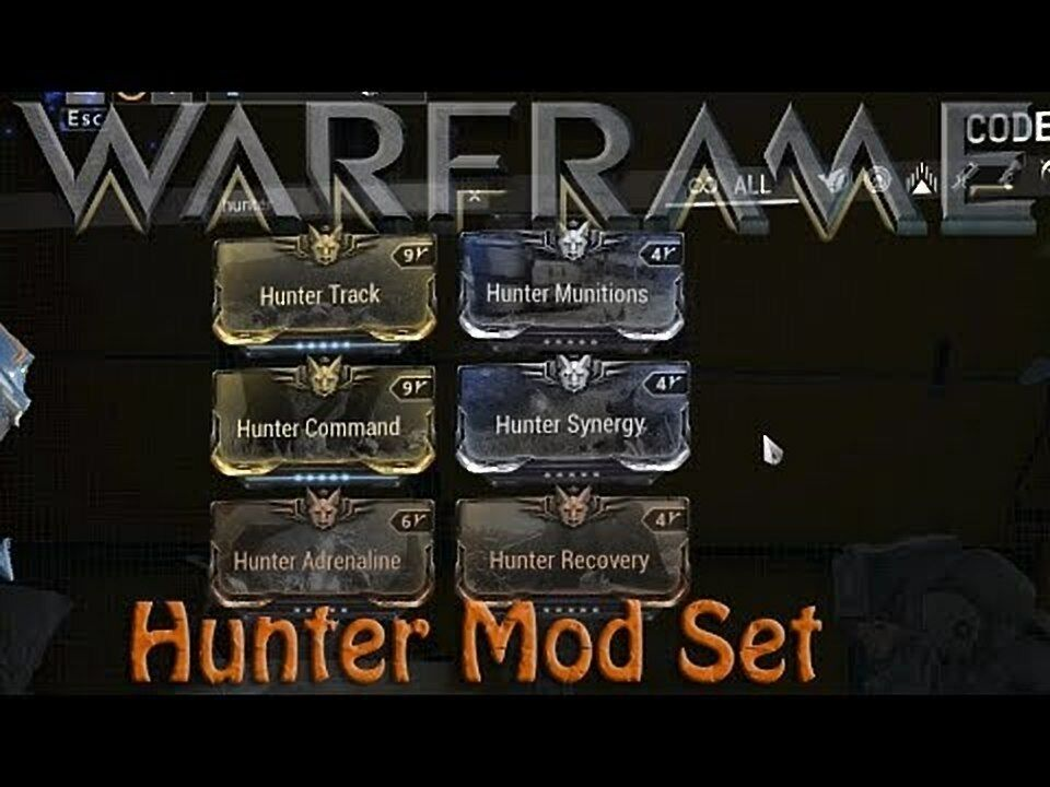 Hunter mod pack max rank( Adrenaline , Command , Munitions ,Recovery , Synergy , Track)