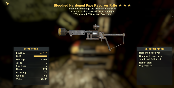 Bloodied 50% VATS Crit Pipe Revolver Rifle + 25% less VATS
