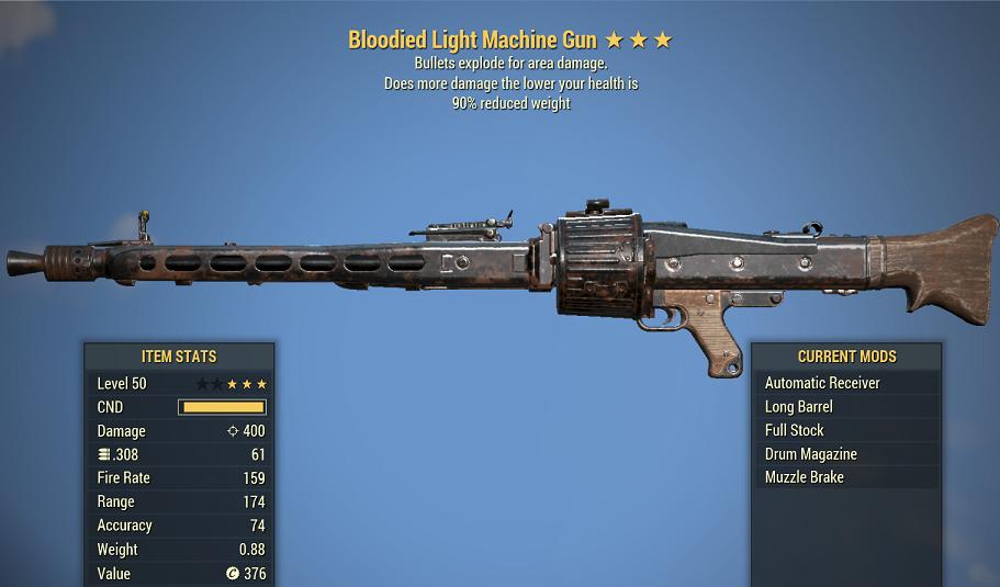 Bloodied Explosive Light Machine Gun 90% reduced weight