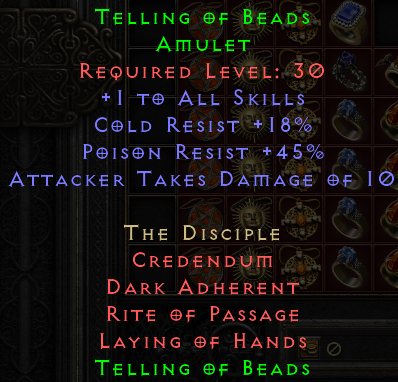 Telling of Beads Set Amulet - D2R Softcore PC