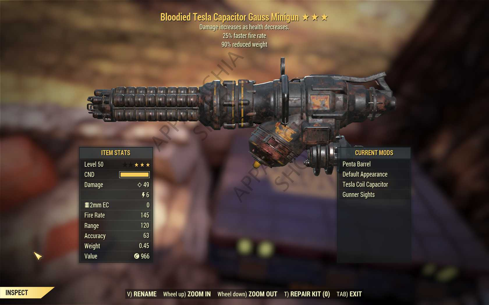 Bloodied Gauss Minigun (25% faster fire rate, 90% reduced weight) FULL MODDED [Wastelanders]