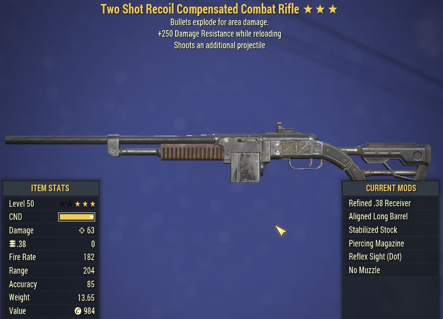 [PC] 2Shot Explosive Recoil Compensated Combat Rifle [+250 Damage Resisrtance]