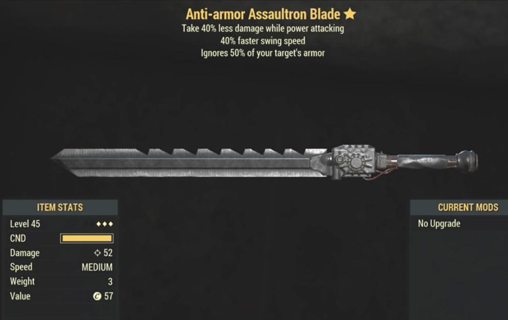 Anti-Armor Assaultron Blade- Level 45