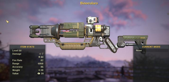 "Infinite Ammo/Mag Automatic Laser Rifle ""Binoculars"" [Glitch weapon]"