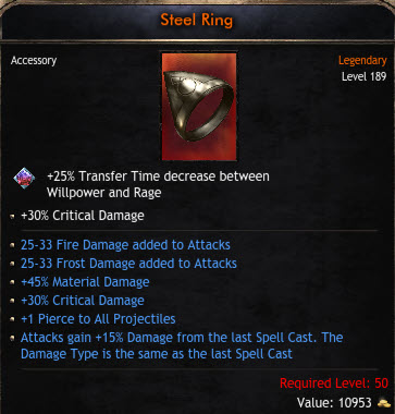 ✅BEST RING✅ 25-33 FROST &FIRE DAMAGE |45% MATERIAL & 30% CRITICAL DAMAGE|+1 PROJECTILE|15% ATK GAIN✅