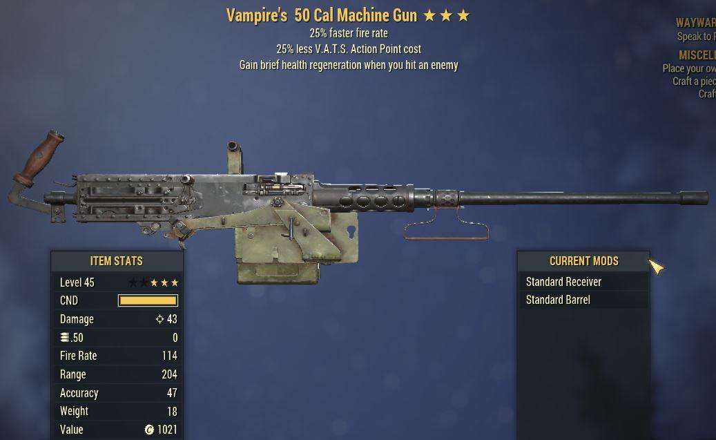 [PC] Vampire's 50 Cal MG [25%FFR   25% Less Vats AP]