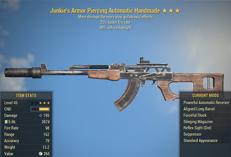 Junkie's Handmade 25% faster fire rate -90% Reduced weight