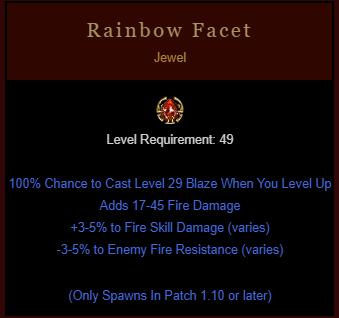 Project Diablo 2 - Rainbow Facet - Fire - Instant Delivery