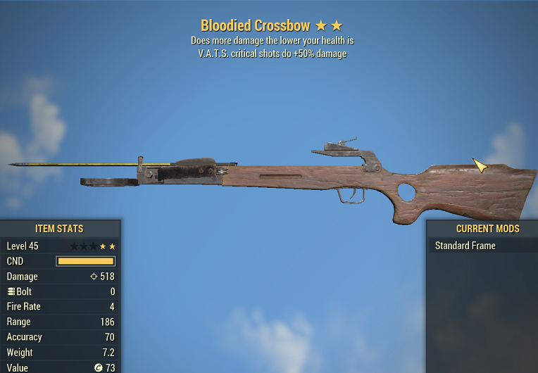 Bloodied Crossbow V.A.T.S. critical shots do +50% damage