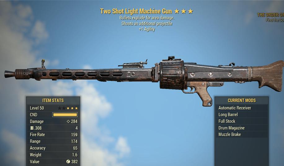 Two Shot Explosive Light Machine Gun +1 Agility