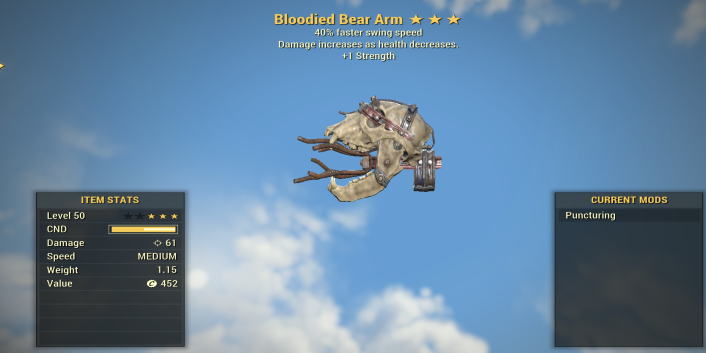 Bloodied 40% faster swing speed Bear Arm + 1 Strength